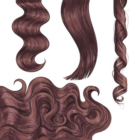 Set of shiny long brown, fair straight and wavy hair curls, sketch style vector illustration isolated on white background. Set of hand drawn realistic healthy, shiny brown, flaxen hair curls
