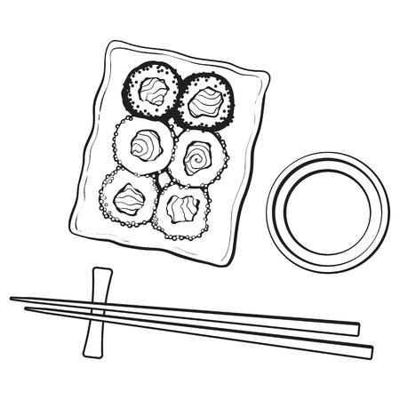 日本の寿司ロール、chosticks、醤油のボウル、上面図手描きのプレート、スケッチ スタイル ベクトル イラスト白い背景上に分離。寿司皿、箸、醤油
