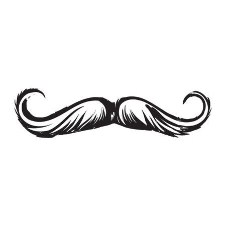 인간의 hipster 콧수염, 장식 요소, 흑백 스케치 스타일 벡터 일러스트 레이 션 흰색 배경에 고립 웅크 리고. 인간의 hipster 스타일 콧수염의 현실적인 격