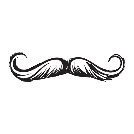 Human hipster curled up mustache, decoration element, black and white sketch style vector illustration isolated on white background. Realistic isolated hand drawing of human hipster style mustache
