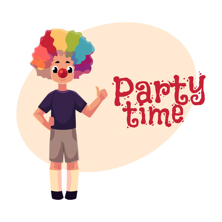 Little boy wearing clown nose and rainbow colored wig showing thumb up, ,cartoon style invitation, banner, poster, greeting card design. Party invitation, advertisement, boy wearing clown red nose