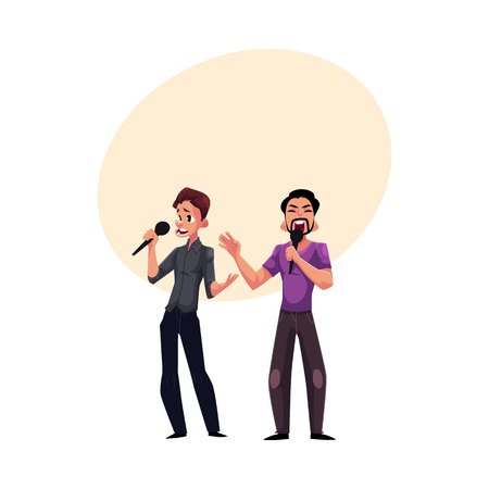 Two men, guys singing in duet, holding microphones, karaoke party, contest, competition, cartoon vector illustration with space for text. Two men, boys, guys, karaoke singers singing together