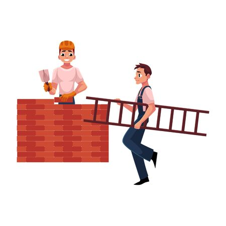 Two construction workers, builders - one building brick wall, another carrying ladder, cartoon vector illustration isolated on white background. full length portrait of two construction site workers