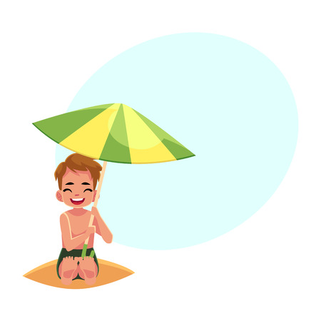 Happy little boy hiding from sun under big beach umbrella, cartoon vector illustration with space for text. Little boy, child, kid sitting on the beach under big umbrella