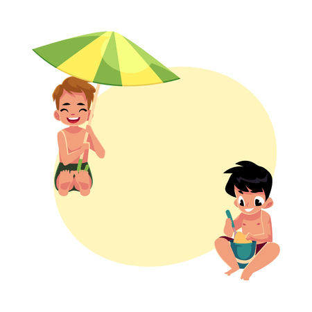Two boys playing on the beach - one filling bucket, another hiding under umbrella, cartoon vector illustration with space for text. Boys, children, kids playing on the beach, summer vacation Illustration
