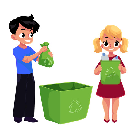 Kids, boy and girl, throw plastic bottles in trash, garbage recycling concept, cartoon vector illustration isolated on white background. Two kids, children with plastic bottles, garbage collection