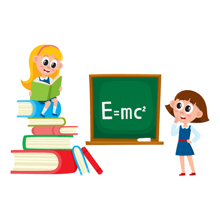 Schoolgirls, school girls, one answering at physics lesson, another reading book, cartoon vector illustration isolated on white background. School girls - standing at blackboard and reading a book Illustration