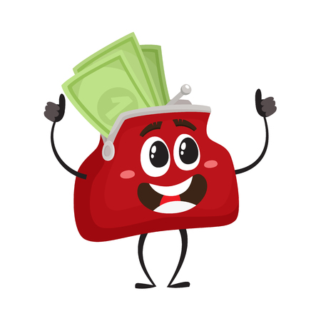 Vector full of money wallet, purse character flat illustration isolated on a white background. Expressive happy, emotional smiling wallet full of money. Money, success wealth, poverty concept