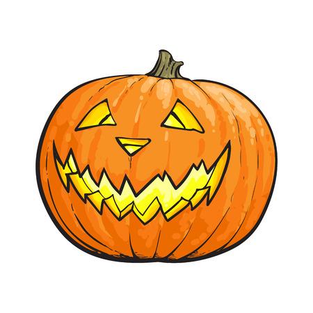 Laterne Jacks O, reifer orange Kürbis mit dem geschnitzten furchtsamen Gesicht, traditionelles Halloween-Symbol, Skizzenvektorillustration lokalisiert auf weißem Hintergrund. Hand gezeichneter Halloween-Kürbis, Laterne der Steckfassung Standard-Bild - 82488733
