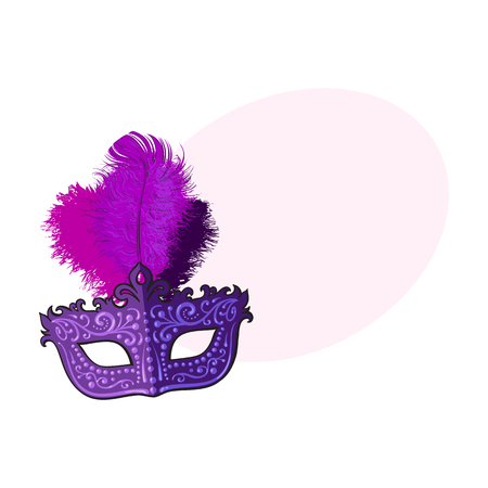 Beautifully decorated Venetian carnival mask with feathers and ornaments, sketch style vector illustration with space for text. Realistic hand drawing of purple carnival, Venetian mask