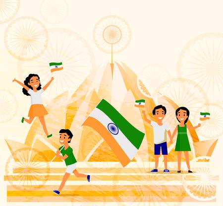 인도 사람들, 남자, 여자, 아이, 델리와 인도 플래그를 들고 배경, 만화 벡터 일러스트 레이 션에서에서 Lotus 사원입니다. 인도 국기, 연꽃 사원, 인도 엽