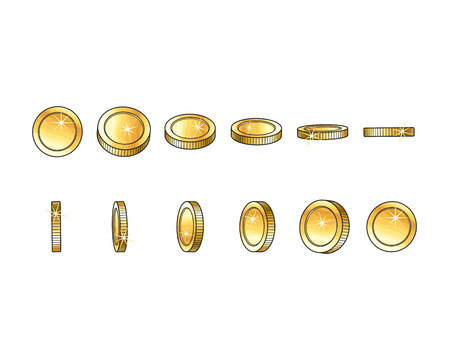 Vector golden coins from different angles. illustration on a white background. Cartoon money isolated . Front, back and side view. Profit, wealth ,success concept. Symbol of banking, finance business.