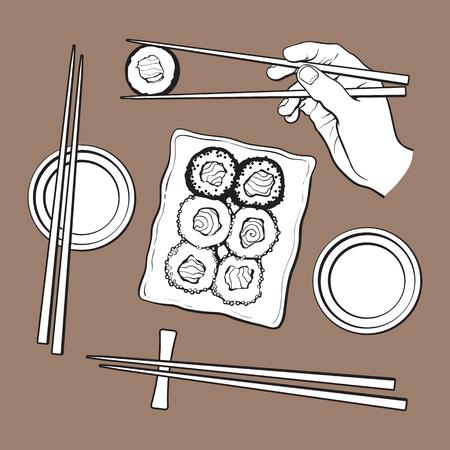 일본 스시 세트, 봉사 접시, 손 들고 젓가락, 벡터 일러스트 레이 션 갈색 배경에 고립 된 스케치. 스시 서빙 접시, 젓가락 손, 간장 그릇, 일식 일러스트