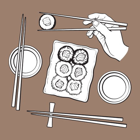 Japanse sushireeks, dienende plaat, de eetstokjes van de handholding, schets vectordieillustratie op bruine achtergrond wordt geïsoleerd. Sushi dienende plaat, hand met eetstokjes, sojasauskommen, Japanse keuken Stock Illustratie