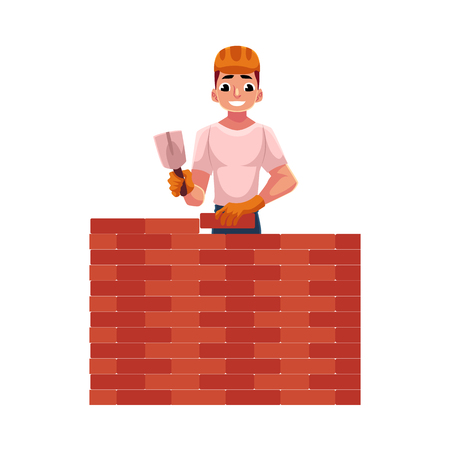 Construction worker, builder in hardhat building brick wall, cartoon vector illustration isolated on white background. Half length portrait of smiling builder with trowel building brick wall