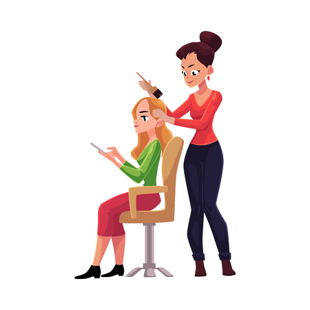Hairdresser dying long hair of blond woman who uses smartphone meanwhile, cartoon vector illustration isolated on white background. Hairdresser woman dying hair for her client, applying hair dye