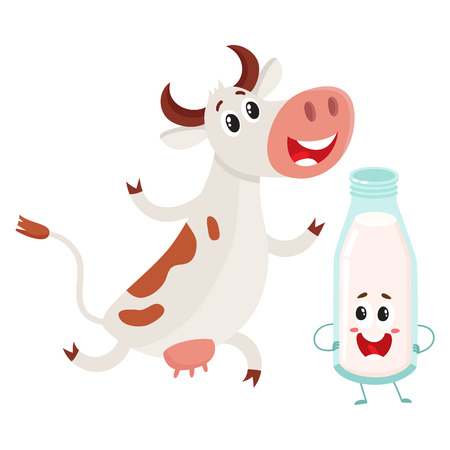 Funny farm cow and milk bottle characters with smiling human faces, cartoon vector illustration isolated on white background. Cute and funny cow and milk bottle characters, standing and smiling Illustration