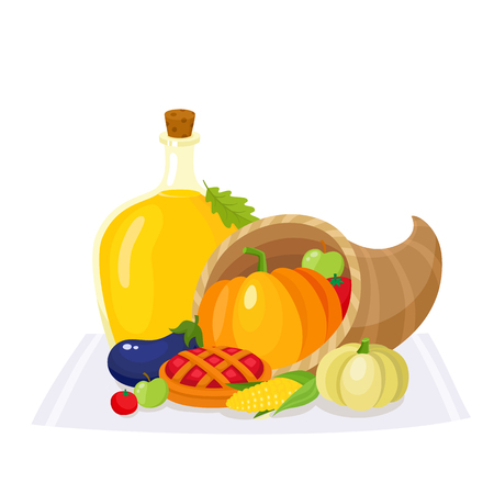 Colorful thanksgiving food, decoration elements - horn of abundance, pumpkin pie, fruits and vegetables, cartoon vector illustration isolated on white background. Set of thanksgiving symbols