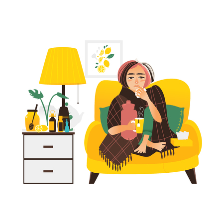 Woman having flu, sitting sick at home, wrapped in blanket, using paper tissues, flat vector illustration isolated on white background. Flat woman having flu sitting at home, sofa, bedside table Çizim
