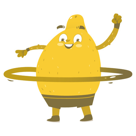 Funny lemon character doing sport exercises, comic, cartoon vector illustration isolated on white background. Funny lemon hero, character twirling around waist, doing sport