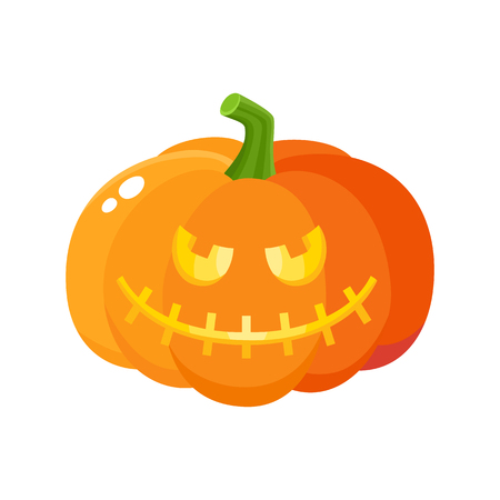 Laughing, grinning pumpkin jack-o-lantern with vampire teeth, Halloween symbol, cartoon vector illustration isolated on white background. Pumpkin lantern with grinning face, Halloween decoration