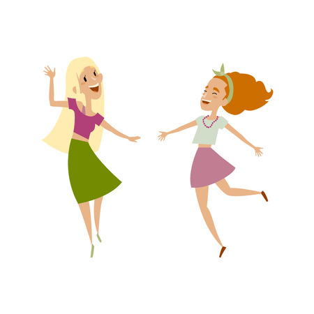 Vector set of female teenagers in casual clothing funny dances. Flat cartoon illustration isolated on a white background. Young girls have fun dancing, smiling cheerfully. Blond, brown hair color