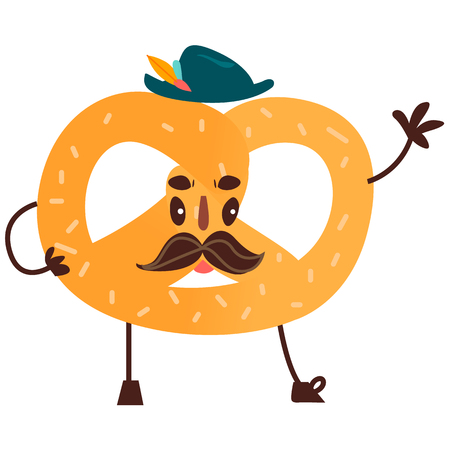 Vector sweet humanized pretzel character with arms and legs in hat. Flat cartoon isolated illustration on a white background. Funny smiley bagel dessert with mustache. Illustration