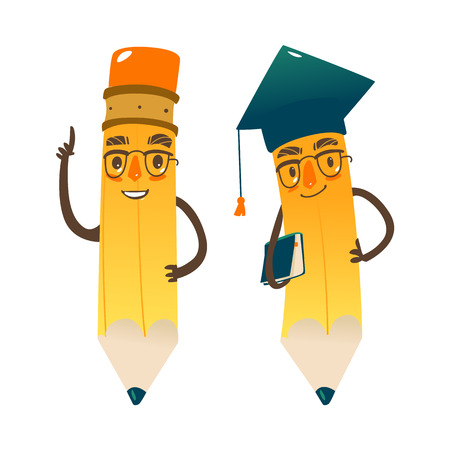 Vector cartoon humanized pencil with arms and face emotions, keeping book in hands in glasses and academic cap. Flat isolated illustration on a white background. Back to school concept