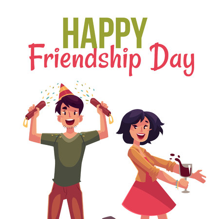 poppers: Happy friendship day greeting card design with friends having fun at a party, cartoon vector illustration isolated on white background. Boy and girl dancing, popping party poppers