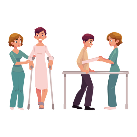Medical rehabilitation, relearning to walk using crunches and parallel bars, cartoon vector illustration on white background. Medical rehabilitation, physical therapy, crunches and parallel bars
