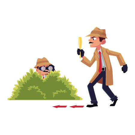 Comic detective character doing surveillance work, spying from bush, following suspect, cartoon vector illustration isolated on white background. Full length portrait of funny detective character