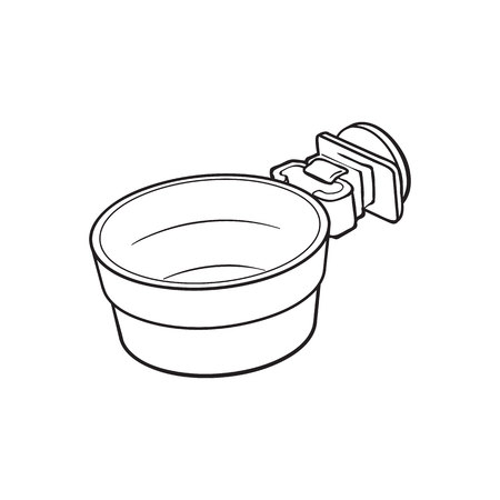 Attachable plastic pet, cat, dog bowl for kennels and crates, sketch style vector illustration isolated on white background. Hand drawn plastic bowl for feeding pets, cat dogs with attachment bracket Stok Fotoğraf