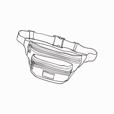 Altmodische, bunte Gürteltasche des Retrostils, Modezusatz von 90s, Skizzenvektorillustration lokalisiert auf weißem Hintergrund. Handgezeichnete Gürteltasche, Packung, beliebter persönlicher Gegenstand aus den 90er Jahren Standard-Bild - 82488879