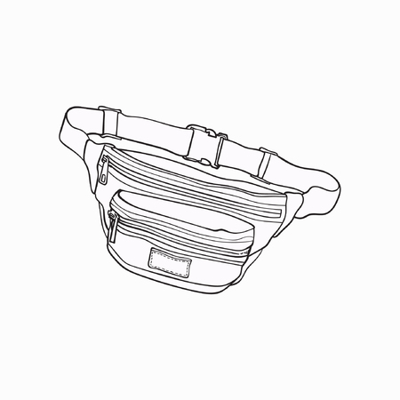 Bolso colorido pasado de moda, de la cintura del estilo retro, accesorio de moda a partir de los años 90, ejemplo del vector del bosquejo aislado en el fondo blanco. Bolso de cintura dibujado a mano, paquete, artículo personal popular de los años noventa Foto de archivo - 82488879