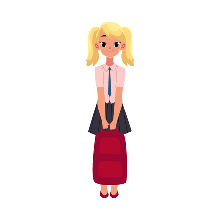 Student, pupil, girl in school uniform holding backpack, cartoon vector illustration isolated on white background. School girl, schoolgirl, student, pupil in uniform, full length portrait