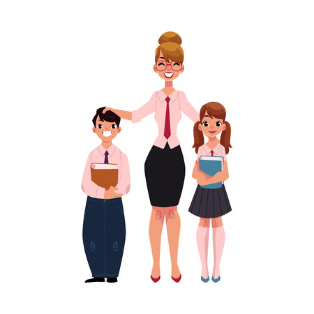Full length portrait of female teacher standing with two students - boy and girl, cartoon vector illustration isolated on white background. Teacher and students standing together Stock Vector - 82742918