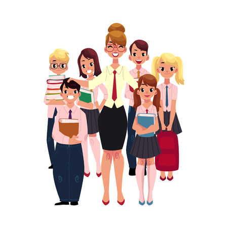 Full length portrait of female teacher surrounded by students, pupils, cartoon vector illustration isolated on white background. Students standing around happy female teacher, back to school concept