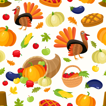 Colorful seamless pattern with thanksgiving symbols - turkey, pumpkin, pilgrim hat, corn, pie, horn of abundance, cartoon vector illustration on white background. Thanksgiving seamless pattern