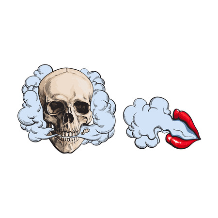 Smoke coming out of skull and beautiful female lips with red lipstick, sketch vector illustration isolated on white background. Hand drawn smoking skull and woman lips emitting clouds of smoke