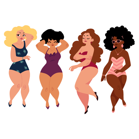plump, curvy women, girls, plus size models in swimming suits, top view cartoon vector illustration isolated on white background. Beautiful plump, overweight women, girls in swimming suits Vettoriali