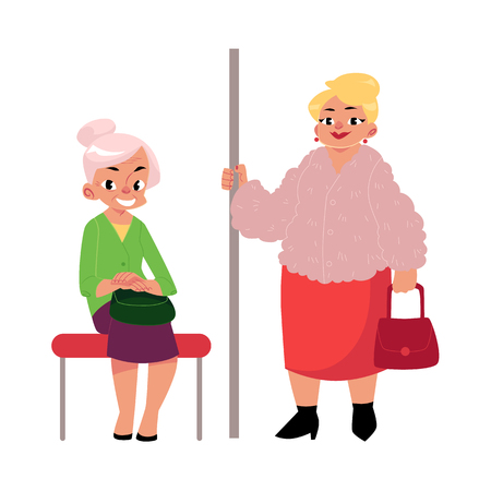 Plump middle age woman standing and old lady sitting in subway, cartoon vector illustration isolated on white background. Two subway passengers - funny plump, housewife and elegant old lady