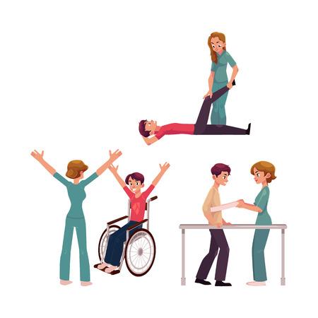 Medische revalidatie, fysiotherapie activiteiten, fysiotherapeut werken met patiënten, cartoon vectorillustratie op witte achtergrond. Medische revalidatie, fysiotherapie, verpleegkundige, patiënten
