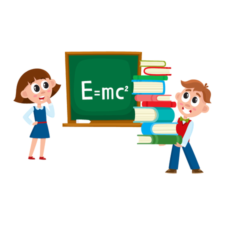 School girl answering at physics lesson, boy carrying pile of books, cartoon vector illustration isolated on white background. Kids, children, boy and girl, at physics lesson, back to school concept Stock Vector - 82727749