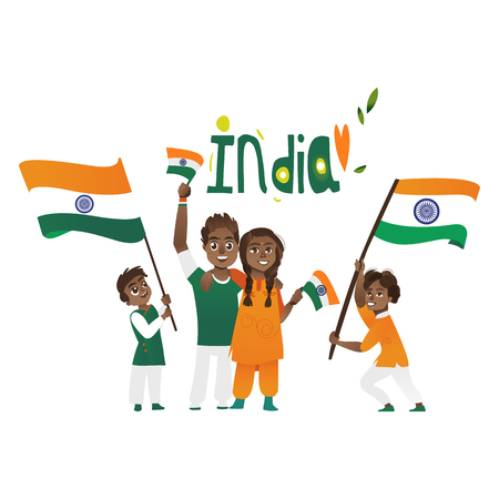 Set of Indian people, man, woman, kids, holding and waving Indian flags, cartoon vector illustration isolated on white background. Indian people with their national tricolor flags, big and small Illustration