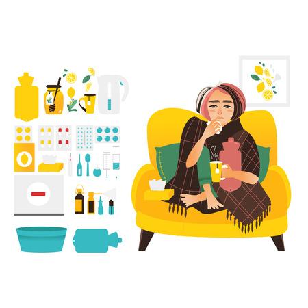 여자 독감, 감기, 인플루엔자 치료 요소, 평면 벡터 일러스트 레이 션 흰색 배경에 고립의 집합에 싸서. 아픈 여자 및 독감, 감기 관련 요소, 의약품, 개