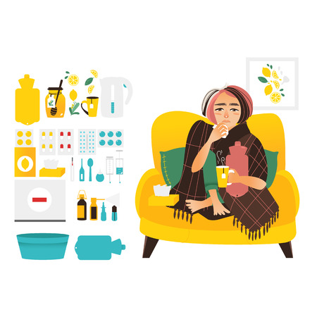 Woman having flu, wrapped in blanket, set of cold, influenza treatment elements, flat vector illustration isolated on white background. Sick woman and flu, cold related elements, medicines, objects