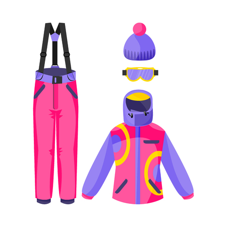Set of skiing, snowboarding outfit - jacket, pants, gloves, beanie hat, flat vector illustration isolated on white background. Flat vector set of skiing, snowboarding clothing, garment, outfit
