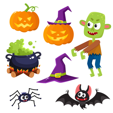 features: Halloween set - pointed hat, caldron, jack o lantern, spider, bat, zombie, decoration elements, cartoon vector illustration isolated on white background. Set of cartoon Halloween objects, decorations Illustration