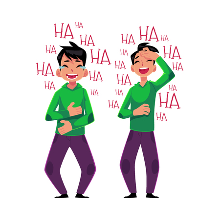 laugh out loud: Young man laughing out loud, crying from laughter in two positions - holding stomach and hand on forehead, cartoon vector illustration isolated on white background. Young man laughing to tears Illustration