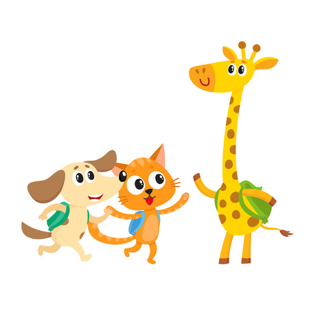 Cute animal student characters, cat, dog and giraffe with backpacks meeting in class, cartoon vector illustration isolated on white background. Little animal student characters, back to school concept Ilustração